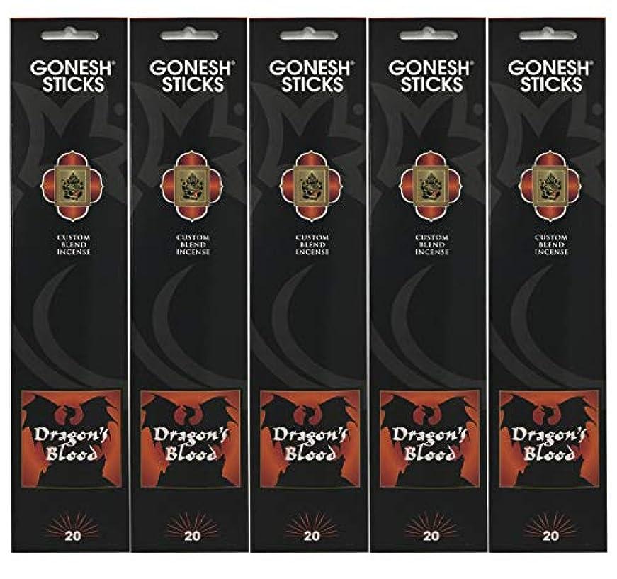 ストレージデクリメントヒップGonesh Incense Sticks Extra Richコレクション – Dragon 's Blood – 5パック(合計100 )