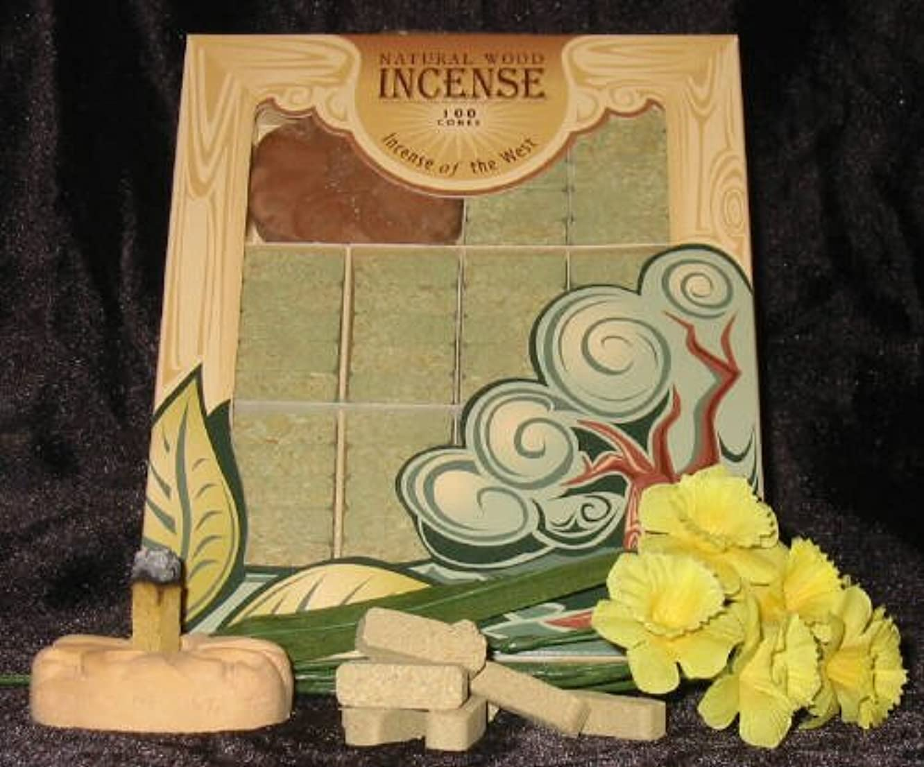 ハッチ複合重要なFir Balsam Wood Incense - 100 Bricks Plus Burner - Incienso De Santa Fe, New, Fr