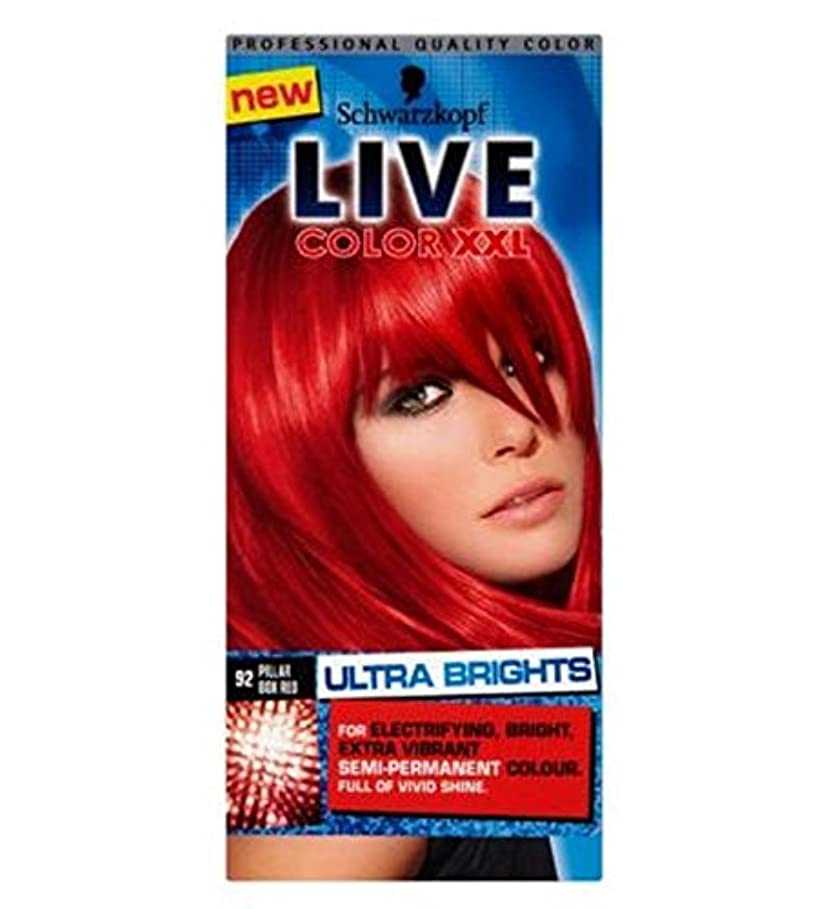 適応的初心者溝Schwarzkopf LIVE Color XXL Ultra Brights 92 Pillar Box Red Semi-Permanent Red Hair Dye - シュワルツコフライブカラーXxl超輝92ピラーボックス...