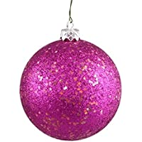 Queens of Christmas WL-ORN-BLKG-100-PI-W WL-ORN-BLKG-100-PI-W - 100mm Glitter Pink ball ornament w/wire