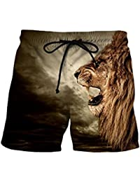 aicessess Men Oversized Beach Pants Casual Printing Floral Fashion Beach Shorts