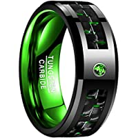 NUNCAD Men's 8mm Green Carbon Fiber Tungsten Carbide Ring Comfort Fit Wedding Band Size 7 to 12