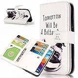 UNEXTATI Galaxy S5 ケース 高品質 PUレザー 手帳型ケース 保護カバー カード収納 液晶保護 防塵 Samsung GalaxyS5 用 Case Cover (P2 ホワイト)