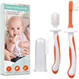 3 Piece Baby Toothbrush Set by Cherish Baby Care - with Infant Finger Toothbrush - Silicone Toothbrush Teether & Toddler Toot