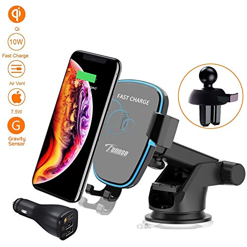 Qi Wireless Car Charger Mount, Funuse Qi Fast Wireless Charger Gravity Car Mount Air Vent Phone Holder, Fast Charge for Samsung Galaxy S8 /S7 /S6 /S7 Edge, Note 8 /5, Standard Charge for iPhone XS MAX/XR/XS/X, 8/8 Plus, Qi Enabled Devices