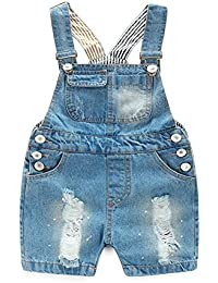 Mornyray 子供服 サロペット オーバーオール 穴あけ キッズ服 ショートパンツ ハーフパンツ 破れ穴 女の子 男の子 コットン 2-8歳 size 90 (ブルー)