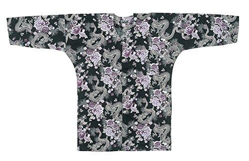 [해외]축제 용품 의상 어린이 鯉口 셔츠 (신장 90-140cm) 검정 용 · 자화 무늬 E8368/Festival goods · costume Child Koiuchi shirt (height 90-140 cm) Black · dragon · purple flower pattern E8368