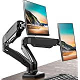 """FITUEYES Dual Mount Monitor Arm Stand Adjustable Gas Spring Computer Desk Mount VESA Bracket for Most 13"""" - 27"""" Computer Scre"""