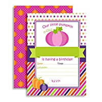 Pumpkin Girl Birthday Party Invitations, Ten 13cm x 18cm Fill In Cards with 10 White Envelopes by AmandaCreation