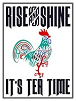 笑顔の目 メタル ヴィンテージ レトロ シャビーシック ブリキ サイン ライズ シャイン イッツ ティー タイム 壁飾り (2861)