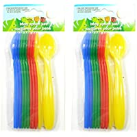 12 Count Baby Infant Spoons Multi-colored Plastic by Angel of Mine