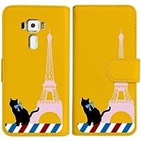 sslink ZenFone3 ZE520KL 手帳型 イエロー ケース 猫 エッフェル塔(ピンク) パリ フランス ダイアリータイプ 横開き カード収納 フリップ カバー