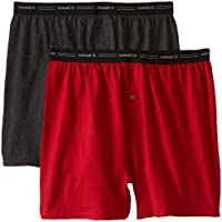 Hanes Red Label Men's Exposed Waistband Knit Boxers (Pack of Two)