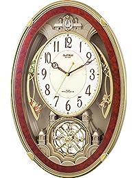 リズム時計 掛け時計 電波 アナログ スモールワールドクイーンダムDX 18曲 メロディ 振り子 茶 Small World 4MN484RH23