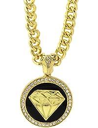 メンズゴールドメッキブラックダイヤモンドヒップホップペンダント36