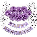 誕生日 飾り付け, Wartoon 装飾 セット ハンギングスワールデコ バースデー ガーランド ペーパーフラワー フラッグガーランド パープル系