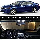 2009-2014 Acura TSX Interior White LED Kit + License Plate (Complete 15PC Light Bulb Set) (3 Dome/Map 4 Vanity 4 Door/Courtesy 2 Trunk 2 License Tag) Sedan & Wagon -2010 2011 2012 2013