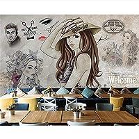 Ljjlm カスタム壁紙ファッション性の高い現代的なファッション手描きの美容室理髪師の背景の壁の壁画写真の3D壁紙-360X240CM