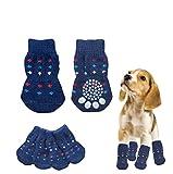 わんちゃん にゃんこ のおしゃれや足の保護に 滑り止め付き ソックス くつした 靴下 犬 猫 ペット 用 (ネイビードットM)