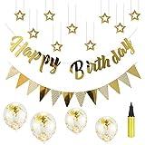 誕生日 飾り付け セット LeHom 風船 バースデー ガーランド デコレーション HAPPY BIRTHDAY きらきら風船 ゴールド