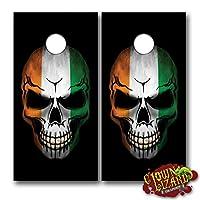 """cl0158Irish Flag Skull CORNHOLEラミネートDecalデカールラップセットデカールボードボードビニールステッカーBeanバッグゲームWrapsグラフィックイメージCorn穴24.5CM x 48.5"""" ( 01)"""