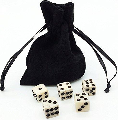 Dice Set with Diceバッグ。Real Bone。5–6d Dice。ハンドメイド。Casino Dice RPG Betting Dice Craps YahtzeeボードゲームD & DバックギャモンFarkle Bunco Balut Liars Diceダイスクラウン&アンカーゴルフ。Ages 10and Up