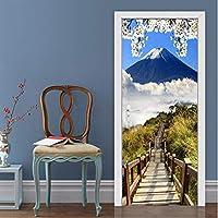 Xbwy 家の装飾3Dステレオ藤山風景ドアステッカーリビングルームダイニングルームPvc防水壁画壁紙現代ビニールステッカー-280X200Cm