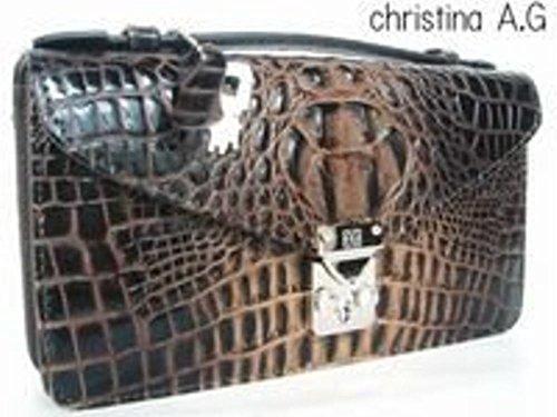 Christina A.G 牛革クロコ型...