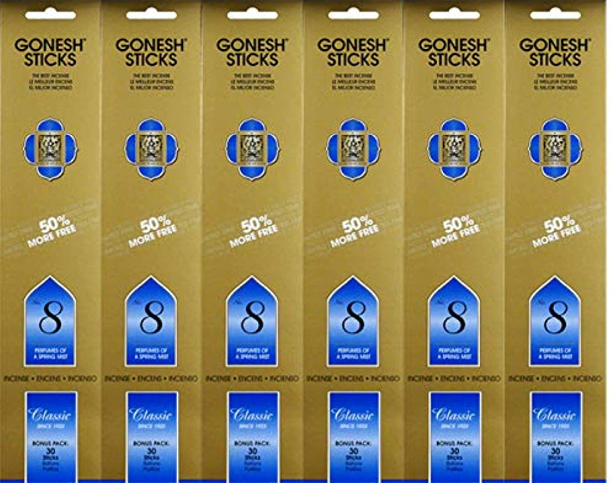 エキサイティングまたはどちらか増幅するGonesh #8 Bonus Pack 30 sticks ガーネッシュ#8 ボーナスパック30本入 6個組 180本