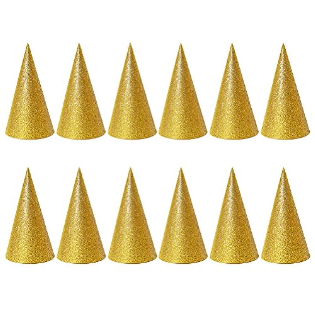 キャンプ少年センチメンタルSUPVOX 子供と大人のパーティーのための12個のキラキラコーンパーティー帽子トライアングルバースデー帽子は装飾を飾ります(ゴールデン)