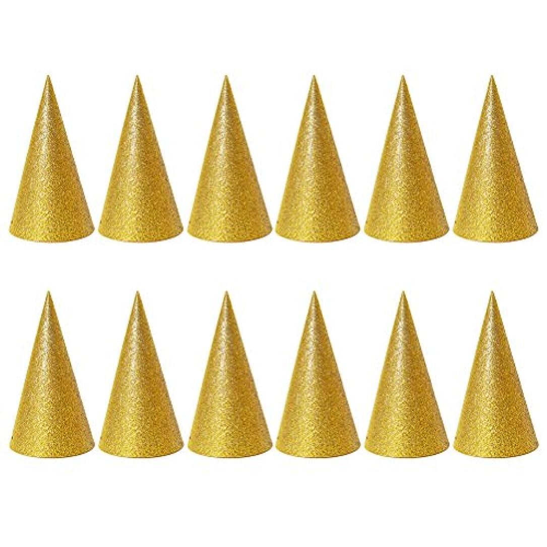 胴体お風呂を持っている定規SUPVOX 子供と大人のパーティーのための12個のキラキラコーンパーティー帽子トライアングルバースデー帽子は装飾を飾ります(ゴールデン)