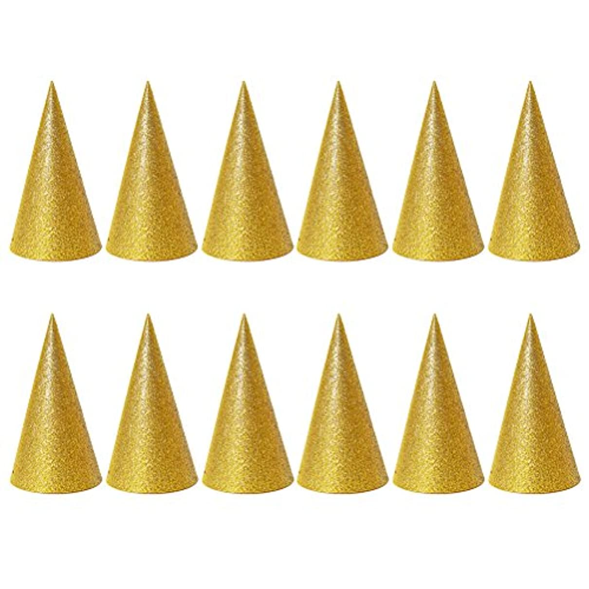 SUPVOX 子供と大人のパーティーのための12個のキラキラコーンパーティー帽子トライアングルバースデー帽子は装飾を飾ります(ゴールデン)