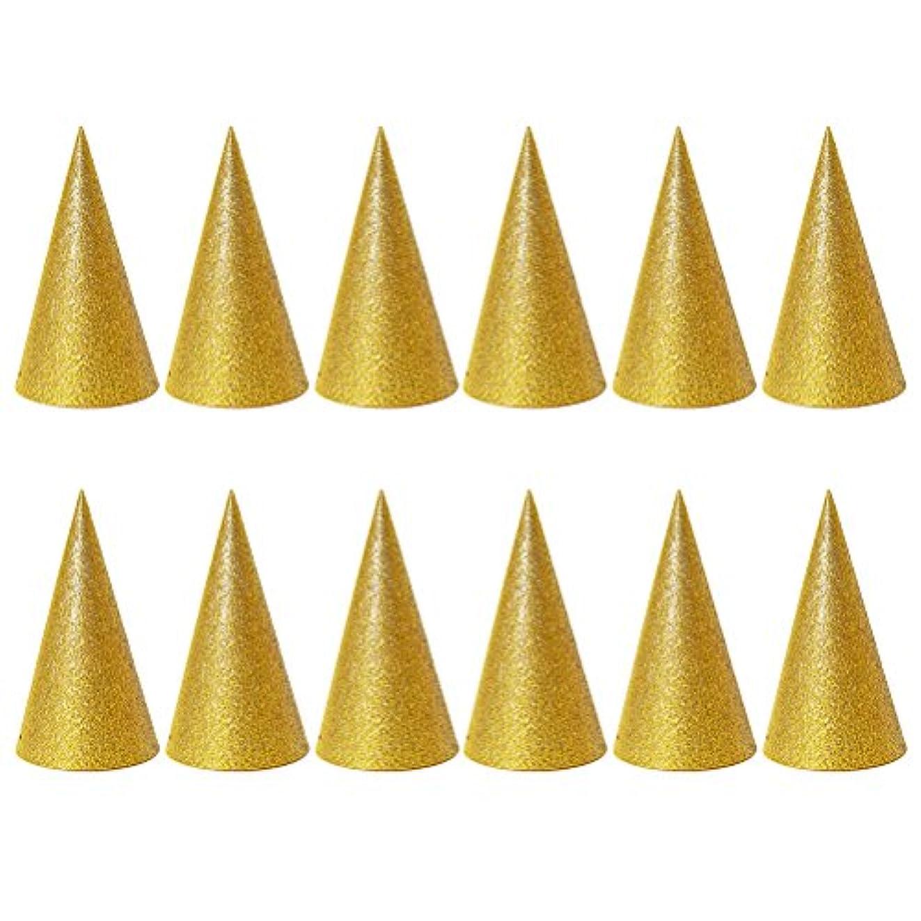 吸収するフレキシブルいまSUPVOX 子供と大人のパーティーのための12個のキラキラコーンパーティー帽子トライアングルバースデー帽子は装飾を飾ります(ゴールデン)