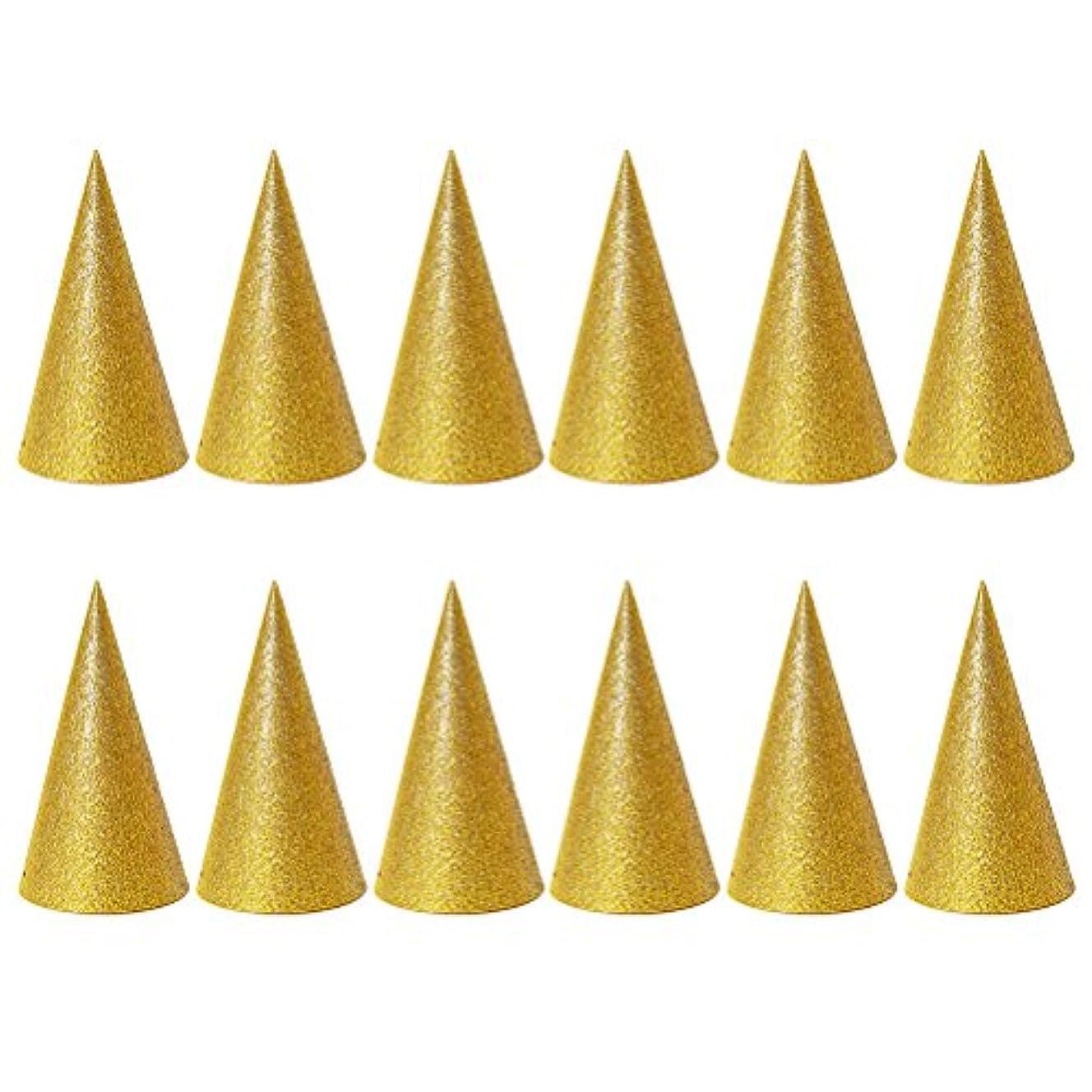 ディレクター回転させる待ってSUPVOX 子供と大人のパーティーのための12個のキラキラコーンパーティー帽子トライアングルバースデー帽子は装飾を飾ります(ゴールデン)