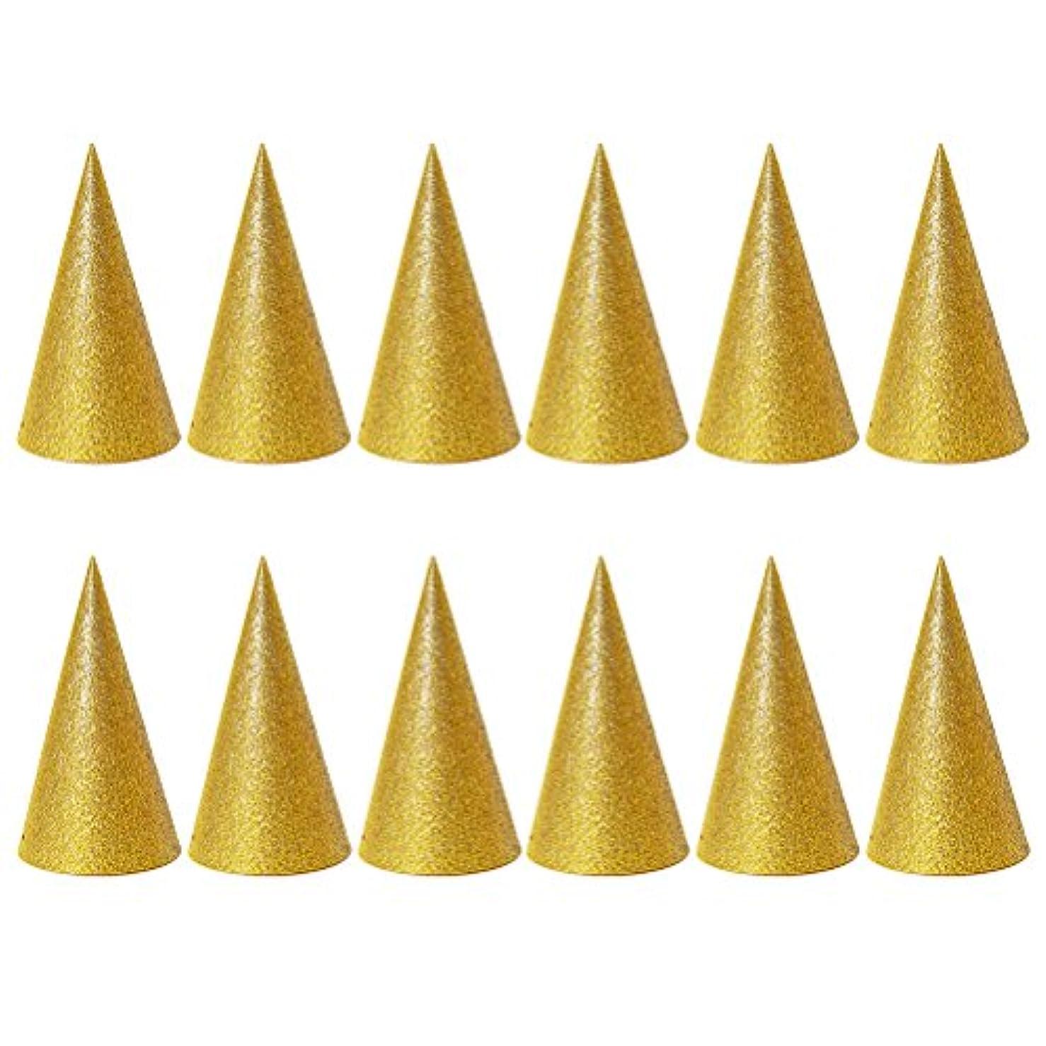 自然ワークショップ提出するSUPVOX 子供と大人のパーティーのための12個のキラキラコーンパーティー帽子トライアングルバースデー帽子は装飾を飾ります(ゴールデン)