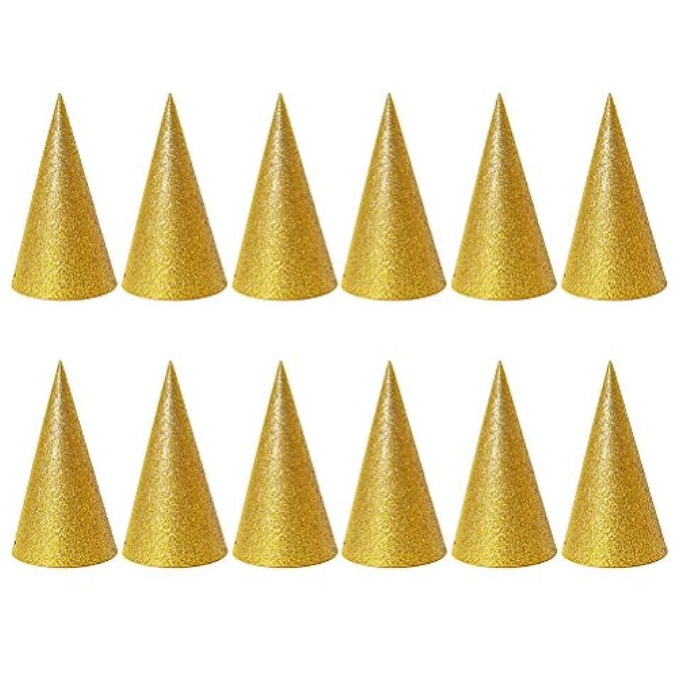 ドール女優ニコチンSUPVOX 子供と大人のパーティーのための12個のキラキラコーンパーティー帽子トライアングルバースデー帽子は装飾を飾ります(ゴールデン)