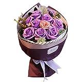 (ファウスト) fausto 枯れない花 フラワーソープ ギフトボックス入り 父の日 花束 プレゼント ソープ フラワー 誕生日 結婚記念日 (パープル)