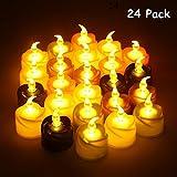 KOBWA キャンドルライト 24個セット LEDキャンドル バッテリー駆動の電子キャンドル LED蝋燭 癒しの灯火 照明 省エネ ボタン電池付き ロマンチック 雰囲気アップ クリスマス プロデュース 6色タイプ