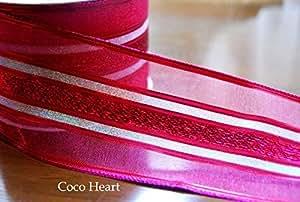 ~Coco Heart~ 1m単位 アルテミス ピンク ワイヤー入り 幅広リボン  (リース・プリザ・ドライフラワー)