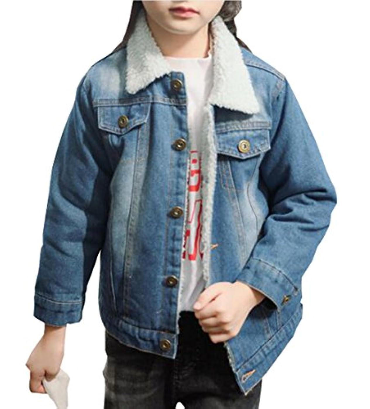 強要一晩代表して雲の花 子供ラムズウールの女の子のジーンズ短い冬のデニムコートアウター