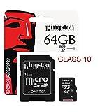 キングストンテクノロジーデジタル64?GB Micro SDXCクラス10メモリカードアダプターで。