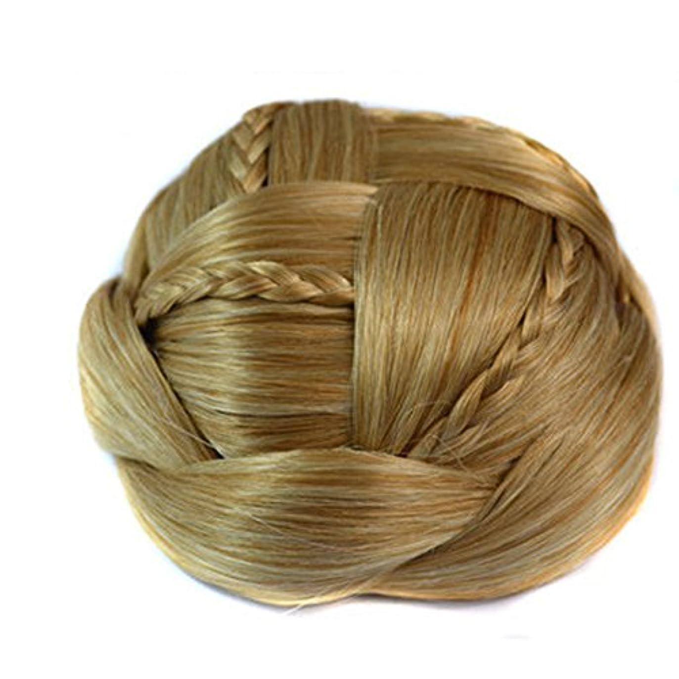 社会学落胆する洗練されたJIANFU ブライダルメイクアップエクステンションウィッグ - ナチュラルヘアエクステンションのボールヘッドクリップのレトロウィッグ (Color : Golden white)