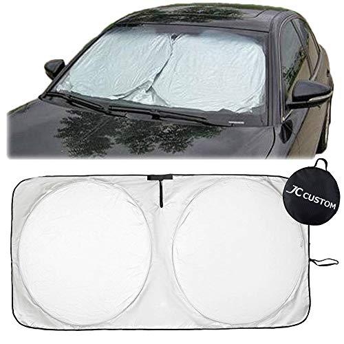 [JC CUSTOM] 簡単に小さくたためる! 汎用 遮光 サンシェード フロントガラス用 収納バッグ付き L