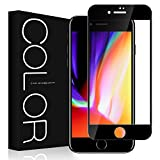 iphone 8 フィルム 3D 全面 G-Color iphone 8 ガラスフィルム 3D 曲面デザイン 3Dラウンドエッジ加工 iphone 8 対応 4.7インチ 液晶保護フィルム 98%透過率 光沢 透明ケース付き(黒)