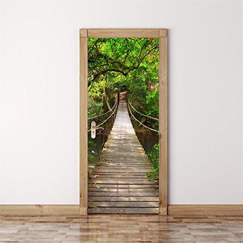 Yanqiao つり橋 ドアステッカー 立体的で光煌かす壁紙 カッコイイ欧米スタイル 高品質 おしゃれ 防水または防潮