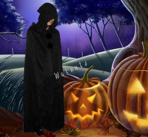 【ELEEJE】 コスプレ 衣装 ハロウィン レディース メンズ 魔女 や 死神 などの 仮装 に最適な ロング ブラック マント【フード付き】 (黒色(フード付き), XLサイズ)