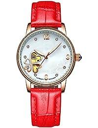 GuTe出品 腕時計 レディース 自動巻き スケルトン 夜光 革バンド アンティーク オシャレ 可愛い レッド 機械式