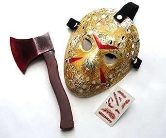ホッケーマスク(ジェイソン風) ホラー コスプレ3点セット(マスク・血の斧・傷 縫合タトゥーシール)im@pe