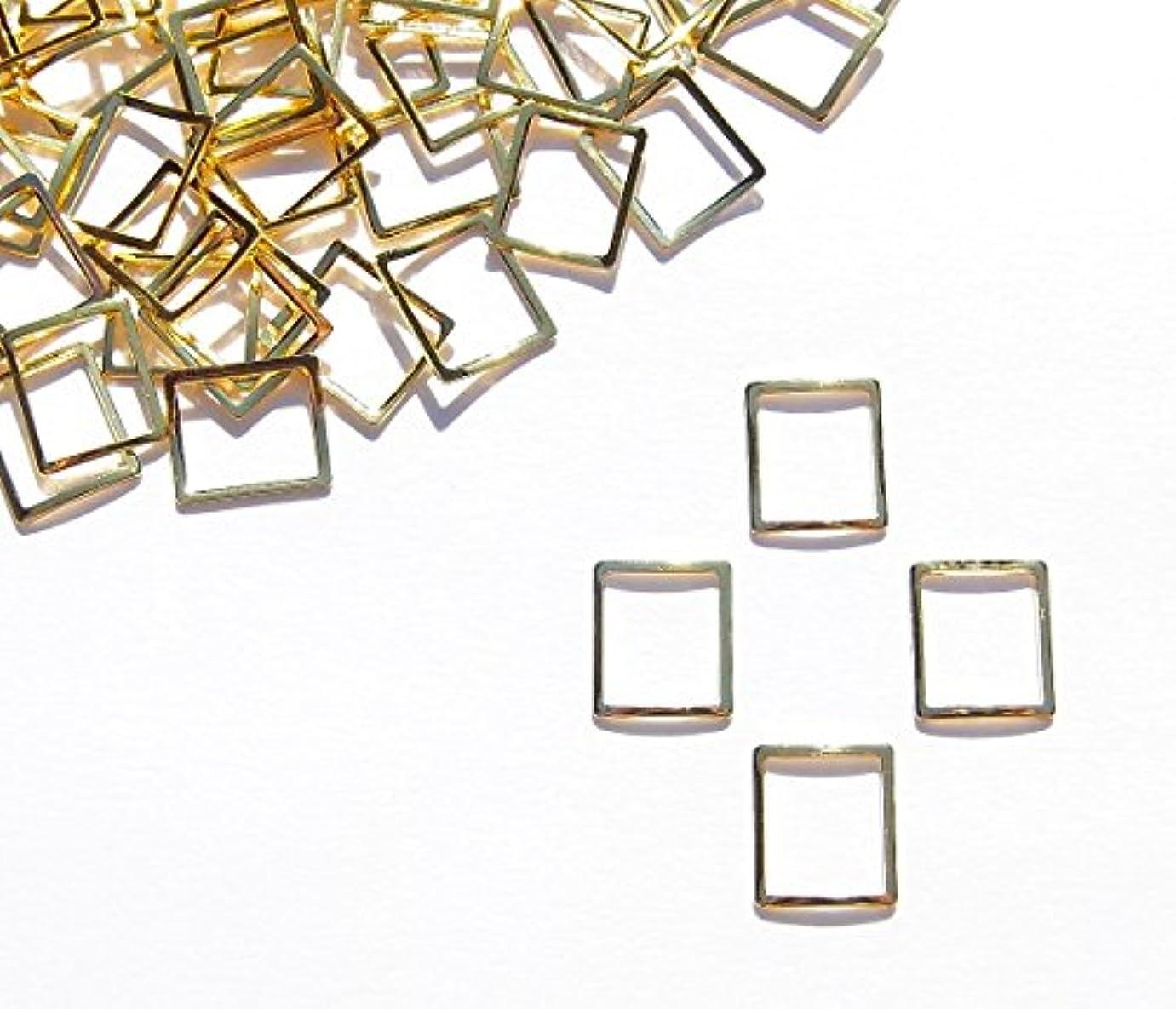導入する風邪をひくシアー【jewel】メタルフレームパーツ スクエア型 6.5mm×6mm 10枚入り ゴールド 金 (カーブ付きフラットタイプ)素材 材料 レジン ネイルアート パーツ 手芸