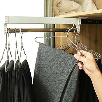 Amazon|ainger スライド式クローゼットハンガーパイプ 調節可能洋服かけ 13 7in ホワイト|ハンガー